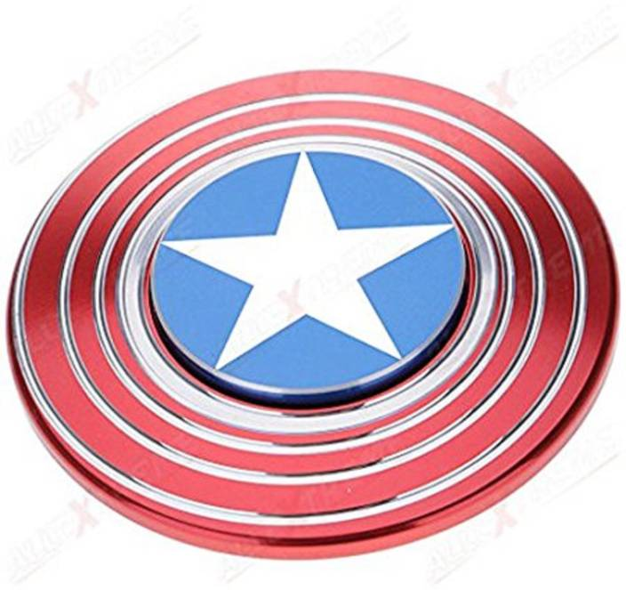 LogicInside Captain America Shield Metal Hand Spinner Fidget Stress Reducer Anti Anxiety for Children / Adults (HYPNO TYPE)