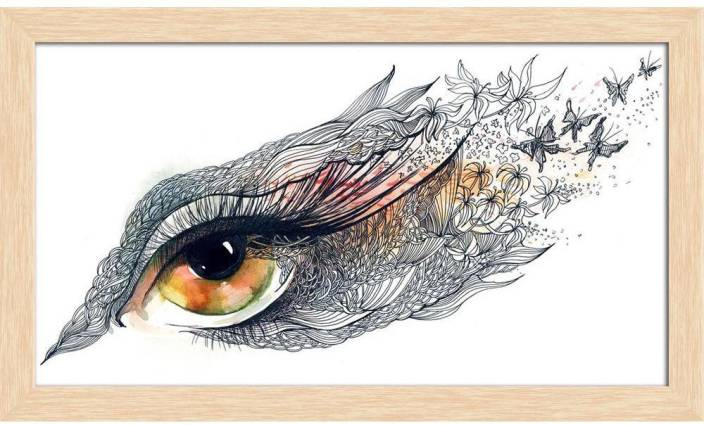 Artzfolio Decorated Human Eye Framed Wall Art Painting Print Canvas