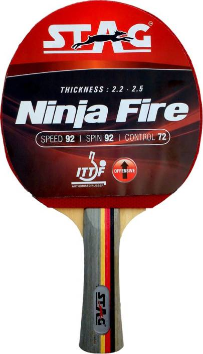Stag Ninja Fire Table Tennis Racquet Red, Black Table Tennis Racquet
