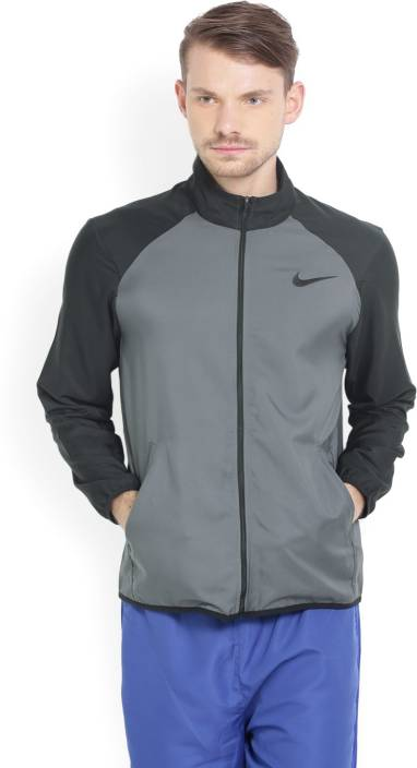 4faeaf1d5039 Nike Full Sleeve Solid Men Jacket - Buy GREY-BLACK Nike Full Sleeve Solid  Men Jacket Online at Best Prices in India