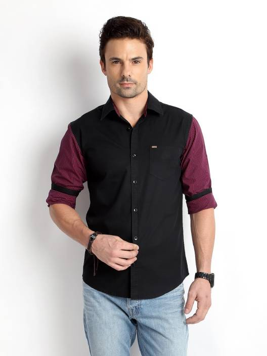 Rodid Men's Solid Casual Black Shirt - Buy Black Rodid Men's Solid ...