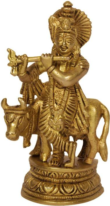 61219dbc5b7 Aakrati Shri Krishna Statue with cow Metal Murti Deorative for Office  Table