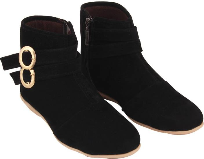ABJ Fashion Double Buckle Women's Stylish Black Boots For Women