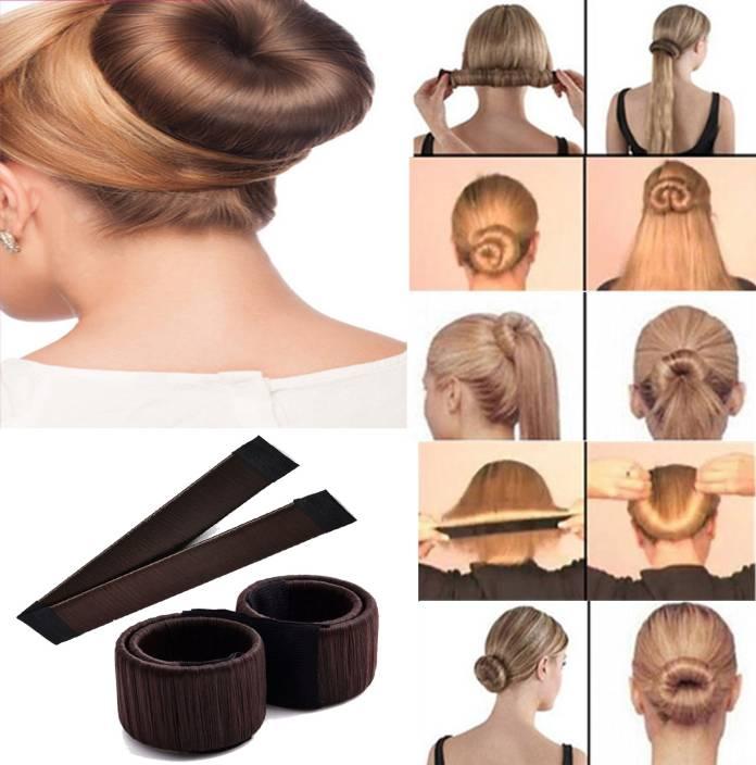 Acutas Hair Styling Donut Bun Maker Former Foam French Twist Magic Tool For Women Girls Brown Bun