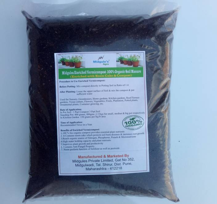 Midgules Enriched Vermicompost – 100% Organic ( With Neem Cake & Compost) g Soil Manure