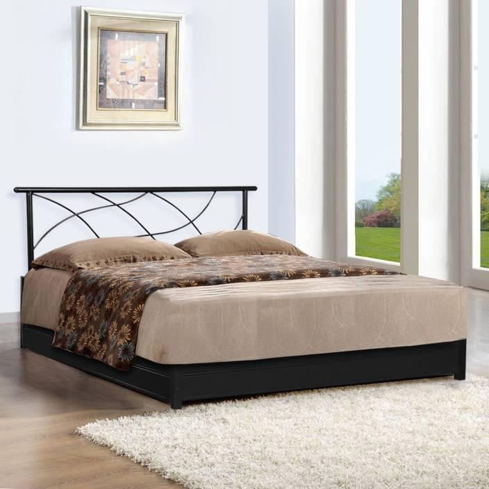FurnitureKraft Lucerne Metal Queen Bed With Storage