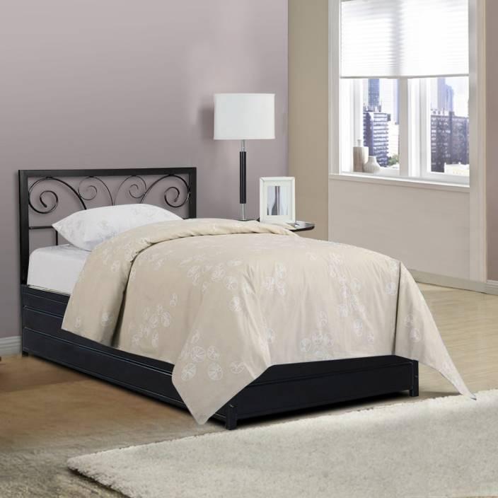 FurnitureKraft Basel Metal Single Bed With Storage