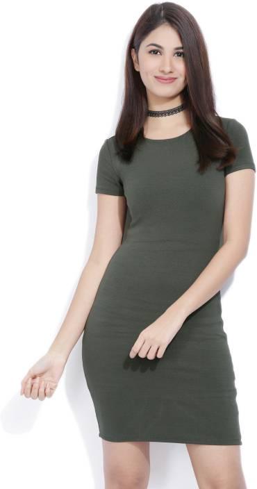 74d546fbc353 Forever 21 Women Sheath Green Dress - Buy DARK OLIVE Forever 21 Women  Sheath Green Dress Online at Best Prices in India   Flipkart.com