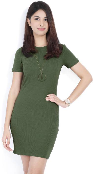 a1f2d08ce9 Forever 21 Women Sheath Green Dress - Buy OLIVE Forever 21 Women Sheath Green  Dress Online at Best Prices in India