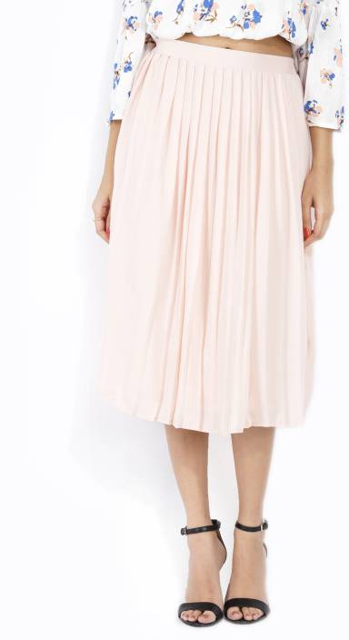4a48ac4c3177 Forever 21 Solid Women Pleated Pink Skirt - Buy PEACH Forever 21 Solid Women  Pleated Pink Skirt Online at Best Prices in India