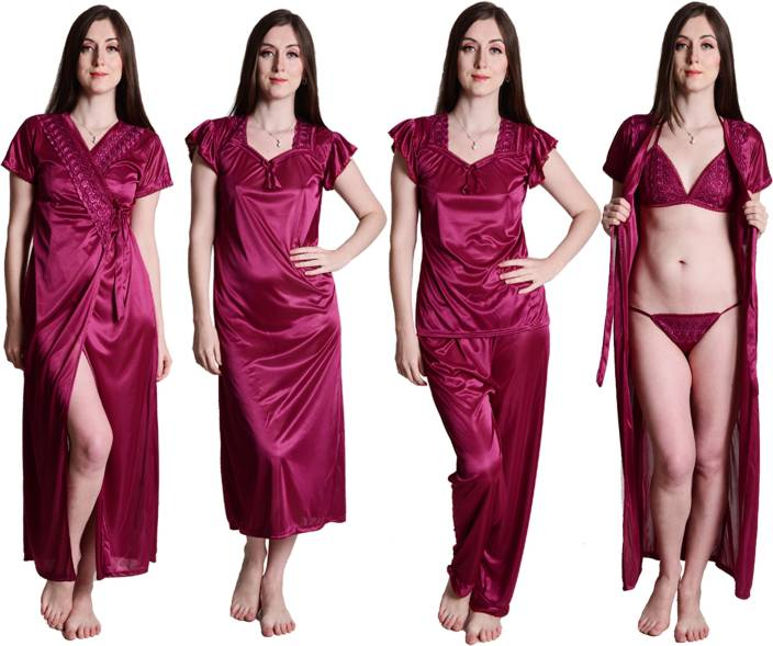 140e42b7a6 Senslife Women s Nighty with Robe - Buy Senslife Women s Nighty with ...