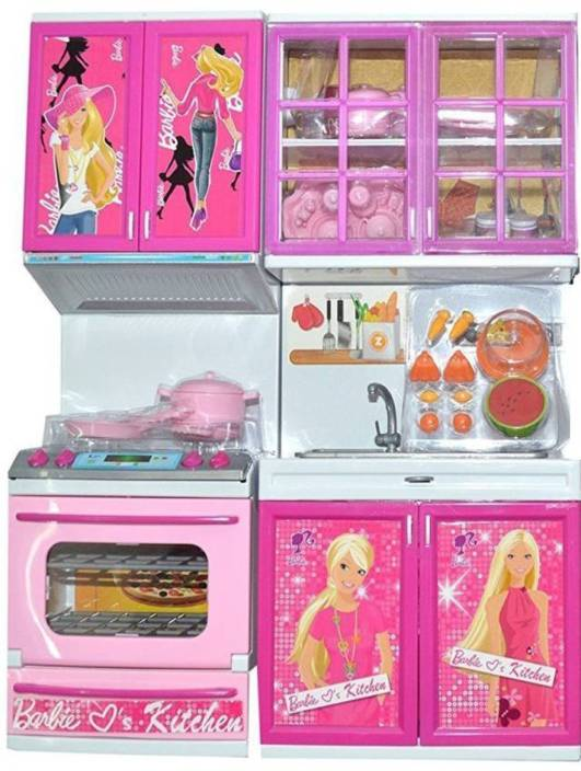 Presentsale 2 Fold Barbie Doll House Kitchen Set For Kids With Light