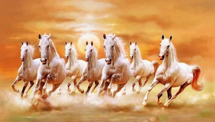Vastu Seven Running White Horses Paper Print Animals Art