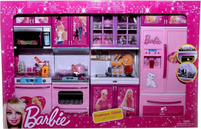 Techhark Pink Barbie Modern Kitchen Set Toy For Kids Pink Barbie