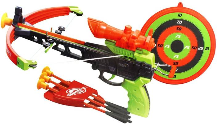 Emob Real Shooting Crossbow Action Toy Set for Kids with Laser Target and 4  Suction Dart Arrows