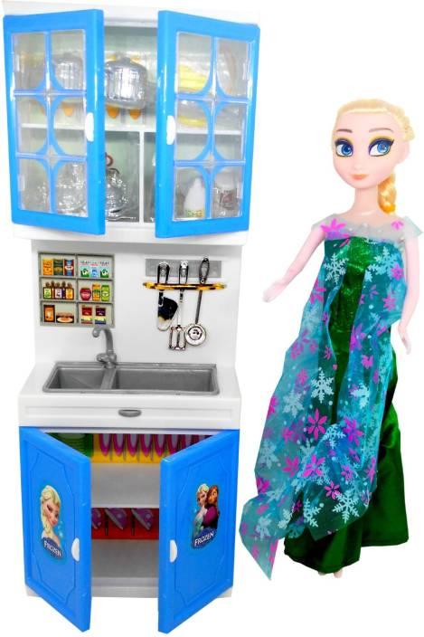 Halo nation frozen kitchen set princess doll with supercool light music blue