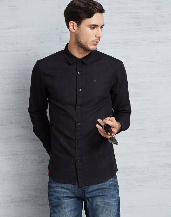 Metronaut Men Solid Casual Black Shirt - Buy BLACK Metronaut Men ...