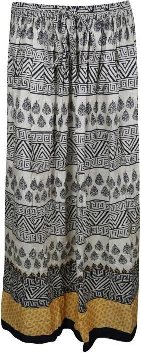 Indiatrendzs Printed Women's A-line Black, Beige Skirt