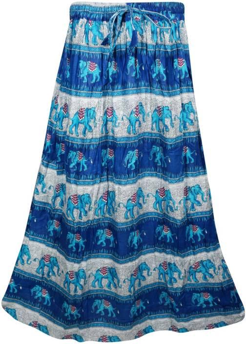 Indiatrendzs Printed Women's A-line Blue Skirt