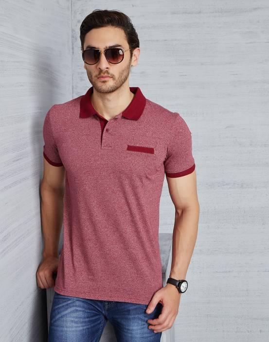 Metronaut Self Design Men 39 S Polo Neck Red T Shirt Buy