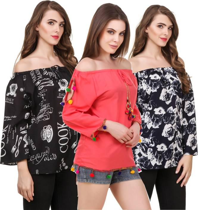 WISER Casual 3/4th Sleeve Embroidered Women Black, Blue, Red Top