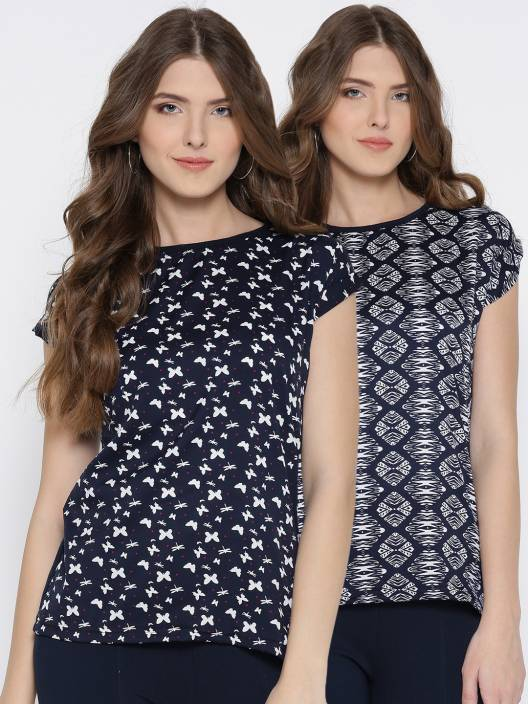 U&F Casual Short Sleeve Animal Print Women Dark Blue, White, Pink Top