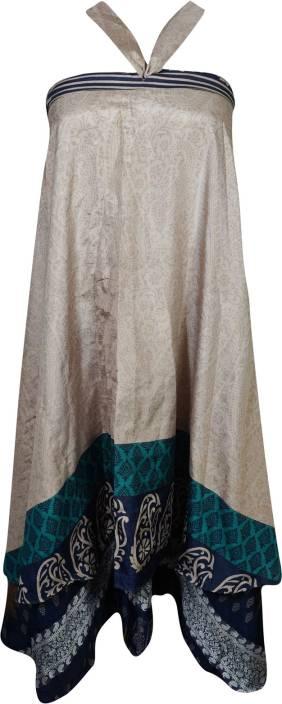 Indiatrendzs Paisley Women Wrap Around Beige, Blue Skirt