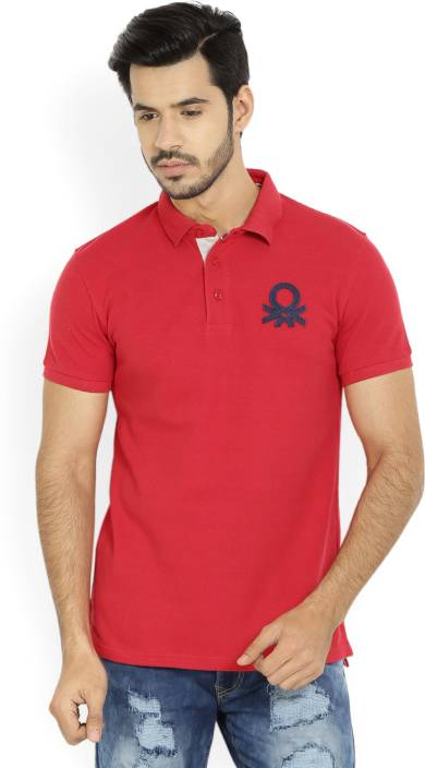 United Colors of Benetton Solid Men's Polo Neck Red T-Shirt