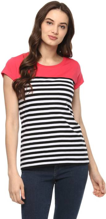697d1e3070e Ajile by Pantaloons Striped Women s Round Neck Multicolor T-Shirt - Buy  Ajile by Pantaloons Striped Women s Round Neck Multicolor T-Shirt Online at  Best ...