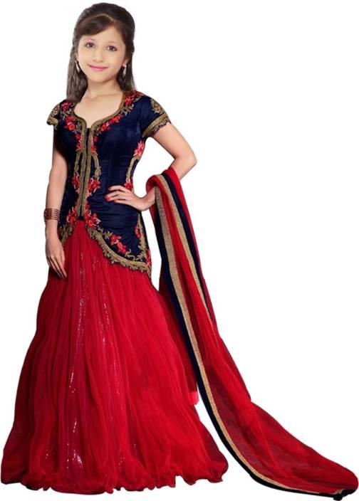 18486b0442 PURVA ART Girls Lehenga Choli Western Wear Embroidered Ghagra, Choli,  Dupatta Set (Blue, Pack of 1)