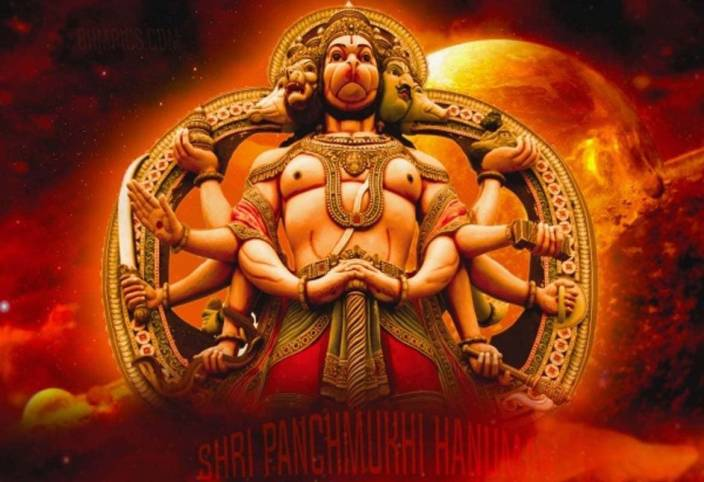 panchmukhi hanuman ji wall print - 5 poster on fine art paper 13x19