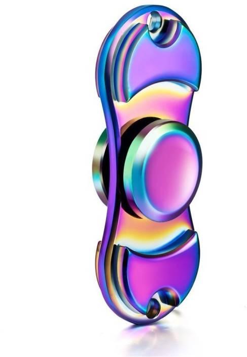 Premsons Fidget Spinner Metal Dual Hand Spinner Ultra Speed Toy Metallic Rainbow