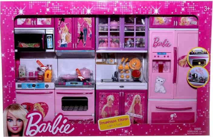 Oddeven Barbie Dream House Kids Choice Big Size Kitchen Modern