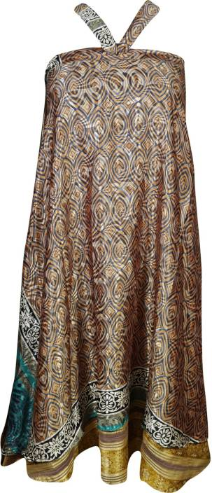 Indiatrendzs Printed Women's Wrap Around Brown Skirt