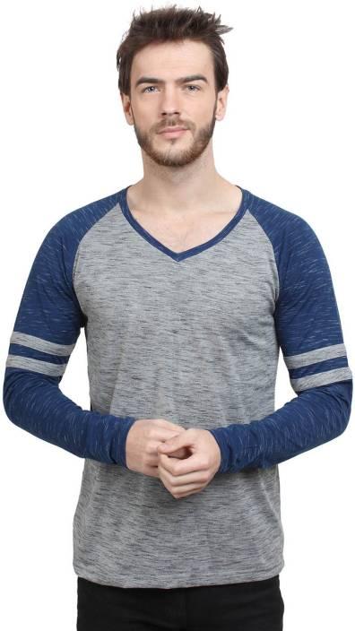 SayItLoud Solid Men's V-neck Grey, Blue T-Shirt