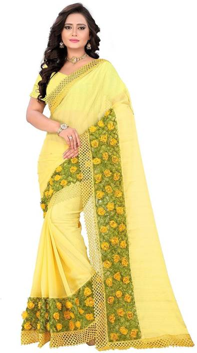 63c11c750415 Buy Om Sai Fashion Plain Fashion Chiffon Yellow Sarees Online @ Best ...