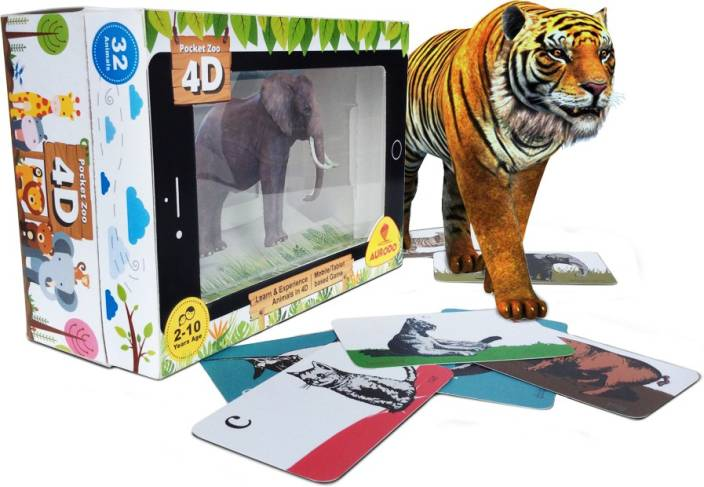 Aurodo Pocket Zoo 4D - 32 Zoo Animals in 4D - Educational Play cum Learning Game - (iOS, Android - Mobile / Tablet based) - Gift For Kids - Age 2-10 years