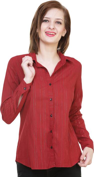 HIVE91 Women Striped Casual Button Down Shirt
