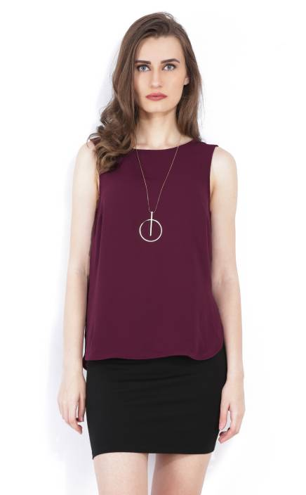 Forever 21 Casual Sleeveless Solid Women Purple Top