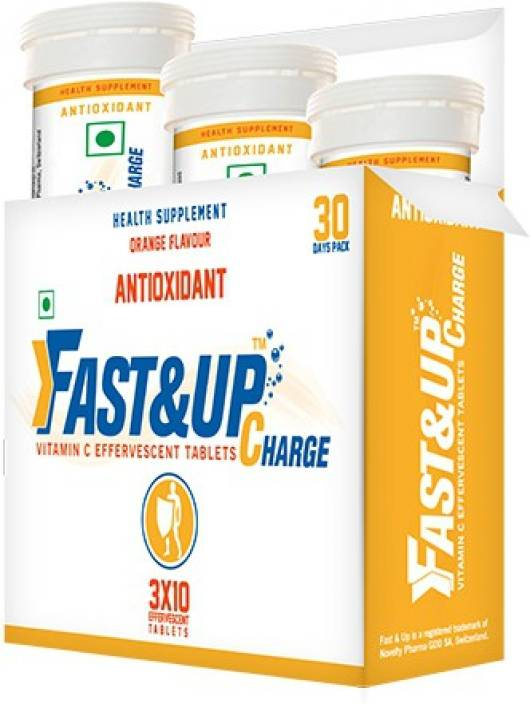 FASTANDUP Vitamin C Effervescent Tablets - Orange Flavour, Pack of 3 Tubes  Energy Drink