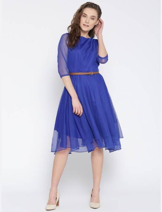 U&F Women Fit and Flare Blue Dress