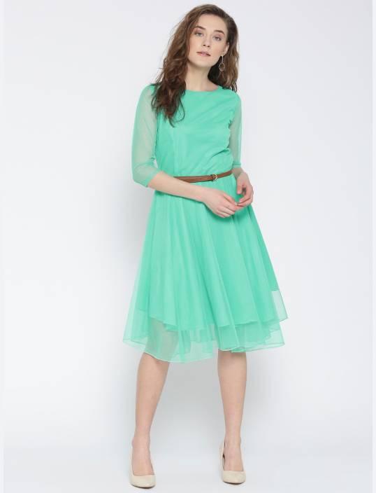 U&F Women's Fit and Flare Light Blue Dress