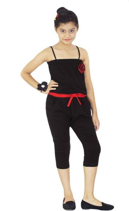5123be93b Naughty Ninos Solid Girls Jumpsuit - Buy Black Naughty Ninos Solid ...