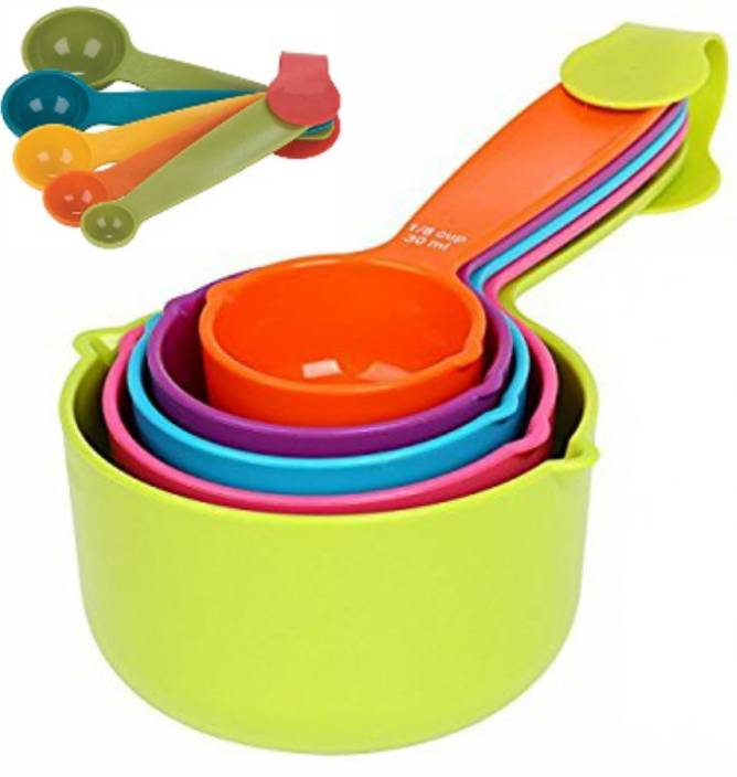 c25abbf64b8 DREAMHUB (TM) Combo Baking Measurement Measuring Cups 5 Pieces   Spoons 5  Pieces Set Of Each Big   Small (Multi-Colour) Plastic Measuring Spoon Set  (Pack of ...