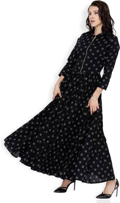 Vishudh Women Maxi Black, White Dress