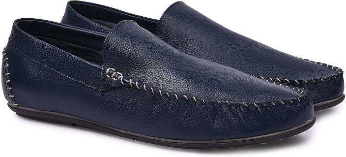Andrew Scott Men's Navy Leather Loafers For Men