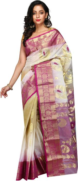 198fe26676 Buy B3 Fashion Woven Tant Tussar Silk Beige, Magenta Sarees Online ...