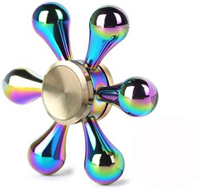 plutofit Rainbow Metal Alloy 6 Side Fidget Spinner