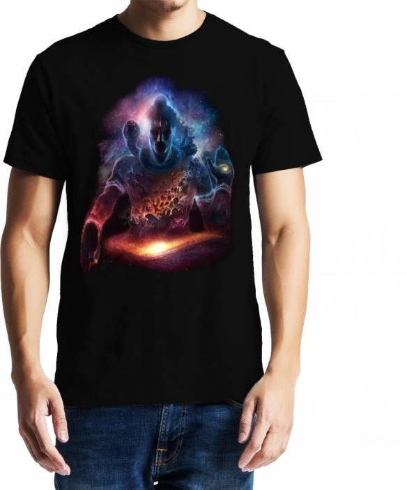 Baklol Graphic Print Men's Round Neck Black T-Shirt