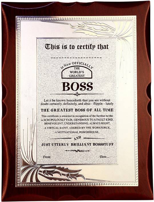 atpata funky world s best boss premium certificate award trophy